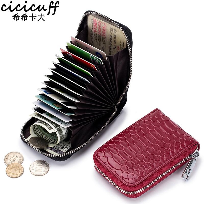 CICICUFF Brand Zipper Organizer Credit Card Holder Genuine Leather Snake Pattern Fashion ID Card Case Minimalist Women Purse