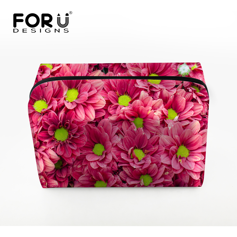 Korean Style Women Makeup Bag Pink Flower Cosmetic Case for Make Up Protable Brand Travel Organizer Toiletry Storage Wash Pouch ttou fashion barrel shaped cosmetic bag trip beauty women travel toiletry kit make up makeup case bag wash bags organizer