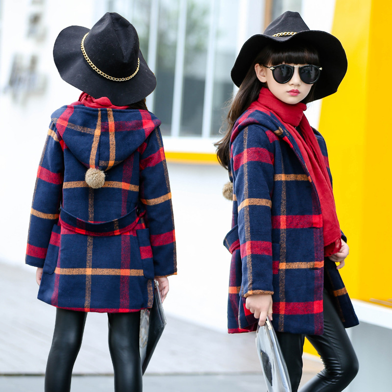 Kids Jackets for Girls Clothes Warm Wool Coat Jackets autumn Girls Plaid Coat Outerwear Girls Clothing Teenage Children Clothing fashion 2017 autumn winter kids girls warm outerwear jacket turn down collar one button plaid wool coat children girls clothes