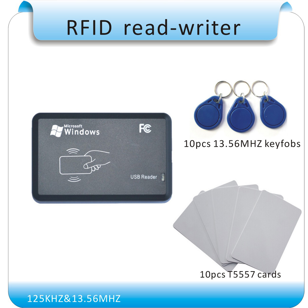 ФОТО Free shipping two working frequency 125KHZ &13.56MHZ RFID writer/Rfid duplication/ no drive/ English software+20pcs cards