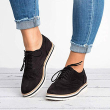 Klaring Vrouwen Oxfords Cut-Outs Lace Up Brogue Schoenen Platte Platform Engeland Ademende Dames Casual Non-slip Schoenen(China)