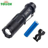 TOACH 3800 lumen XML T6 Lamp 5 Modus Mini Zoomable Led Zaklamp met Metalen Clip, bike clamp voor ourdoor actitivies en power uitgesneden