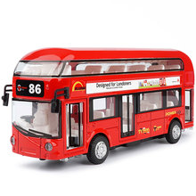 Simulation London double-decker bus alloy sound and light pull back car model can open the door childrens toy Christmas gif