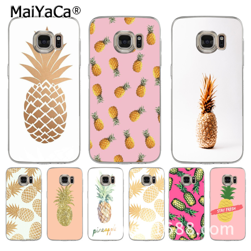 MaiYaCa <font><b>gold</b></font> pineapple Protective transparent soft tpu Mobile Phone <font><b>Case</b></font> for <font><b>samsung</b></font> galaxy s8 <font><b>s7</b></font> edge s6 edge plus s5 s9 <font><b>case</b></font> image
