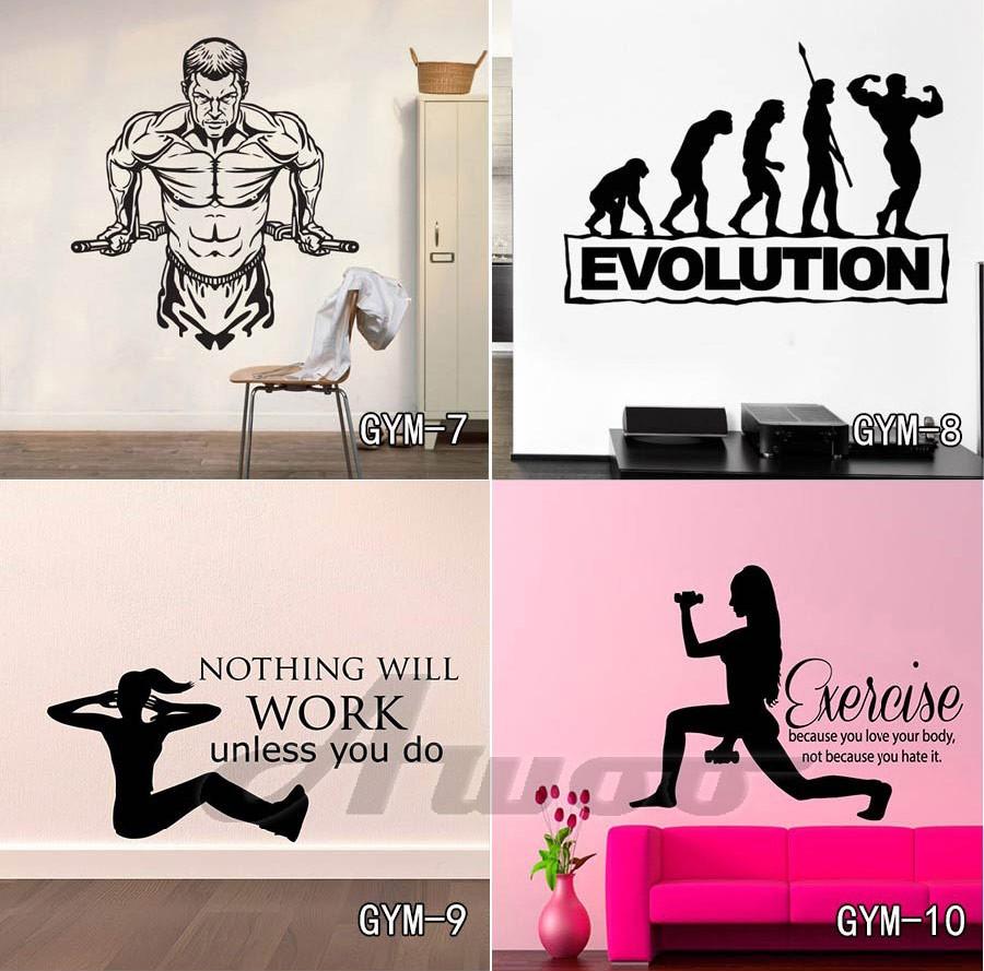 Kebugaran Gym Dinding Decal Vinyl Wall Stiker Olahraga Rumah Mural Body Pump Warna 01 02 03