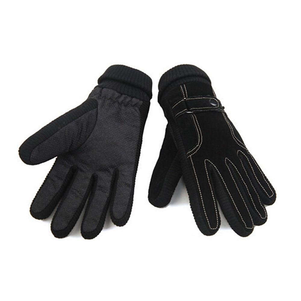 Thickened full finger winter gloves men gloves pigskin genuine ...