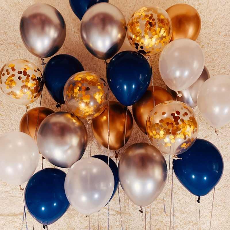 Темно-синие золотые Серебристые хромированные латексные шары, комплект с днем рождения, свадебные украшения, надувные воздушные гелиевые шары, Товары для детей