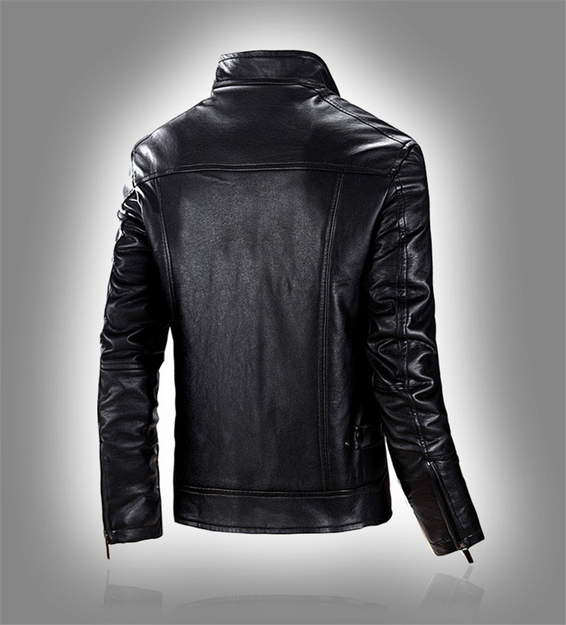 Cheap Sale Plus Size 5xl Mens Leather Jacket Slim Fit Pu Biker Motorcycle Warm Bomber Coat Outwear Overcoat High Quality Men's Clothing Jackets & Coats