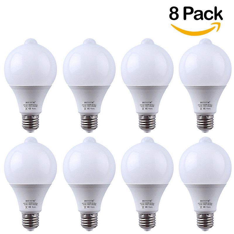 8PCS 9W PIR Motion Sensor Light E27+ Light Control Motion Sensor LED Bulb Auto Smart Led PIR Infrared Body Sound Lamp 10pcs 9w pir motion sensor led bulb light control motion sensor light e27 led bulb auto smart led pir infrared body sound