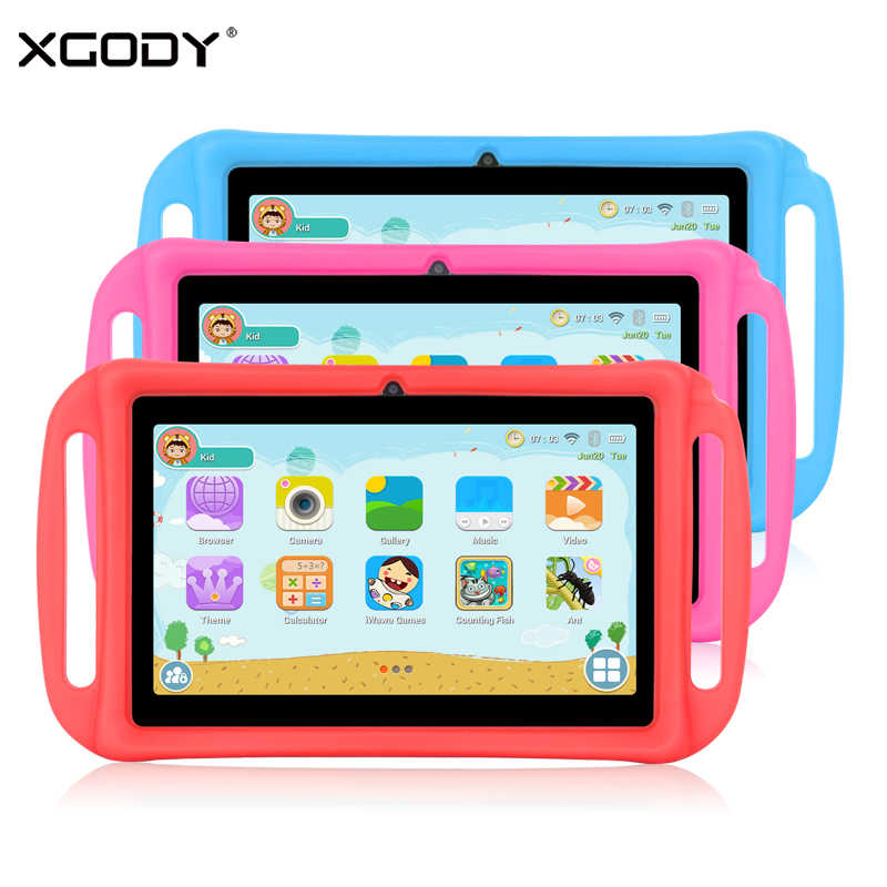 XGODY T702 7 Inch Kids Tablet PC Android 8.1 Quad Core 1GB 16GB HD Dual Camera WiFi Portable Tablets For Children Silicone Case