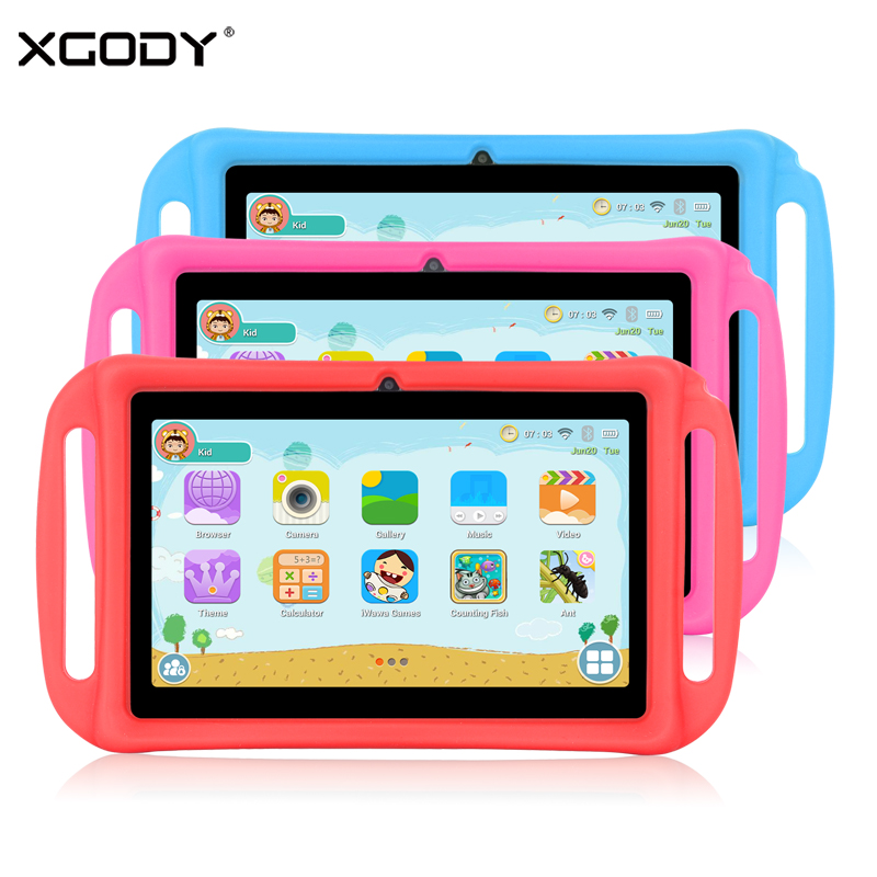 XGODY T702 7 Inch Kids Tablet PC Android 8.1 Quad Core 1GB 8GB HD Dual Camera WiFi Portable Tablets For Children Silicone CaseXGODY T702 7 Inch Kids Tablet PC Android 8.1 Quad Core 1GB 8GB HD Dual Camera WiFi Portable Tablets For Children Silicone Case
