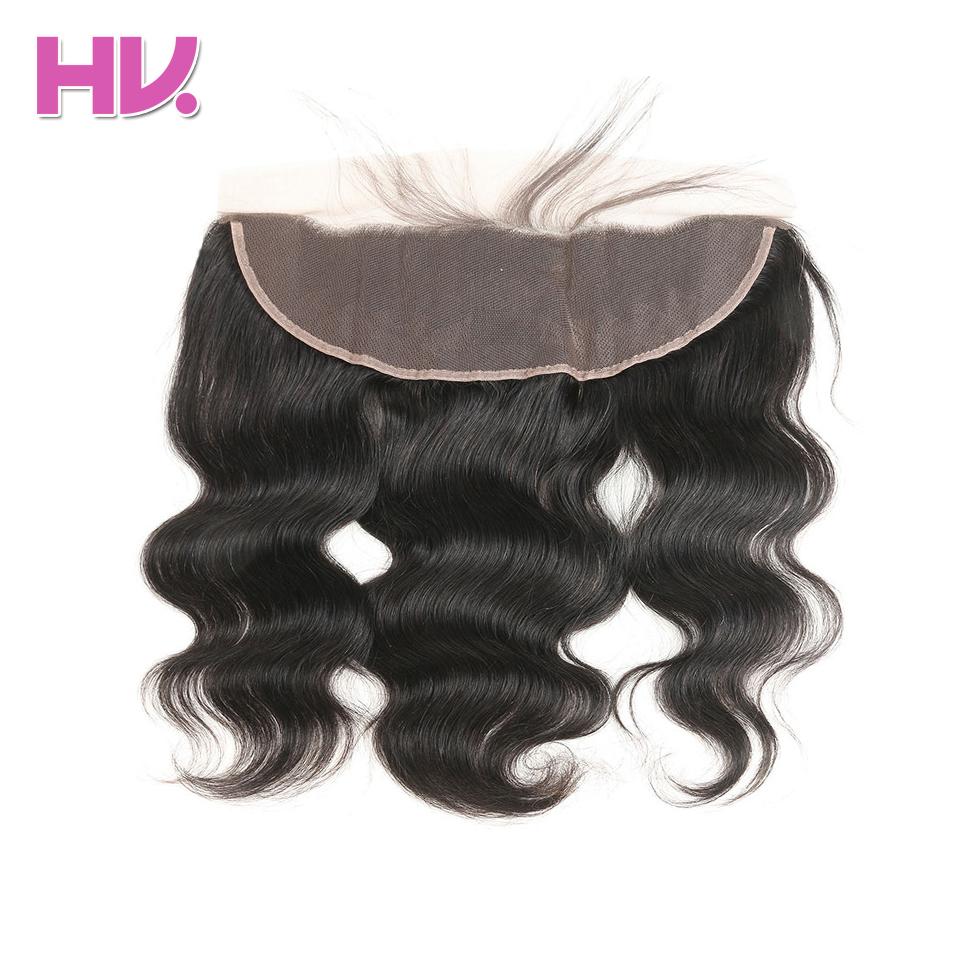 Hair Villa Human Hair 13x4 Pre Plucked Lace Frontal Closure Brazilian Body Wave Non-Remy Hair Free Part Ear to Ear Lace Frontal