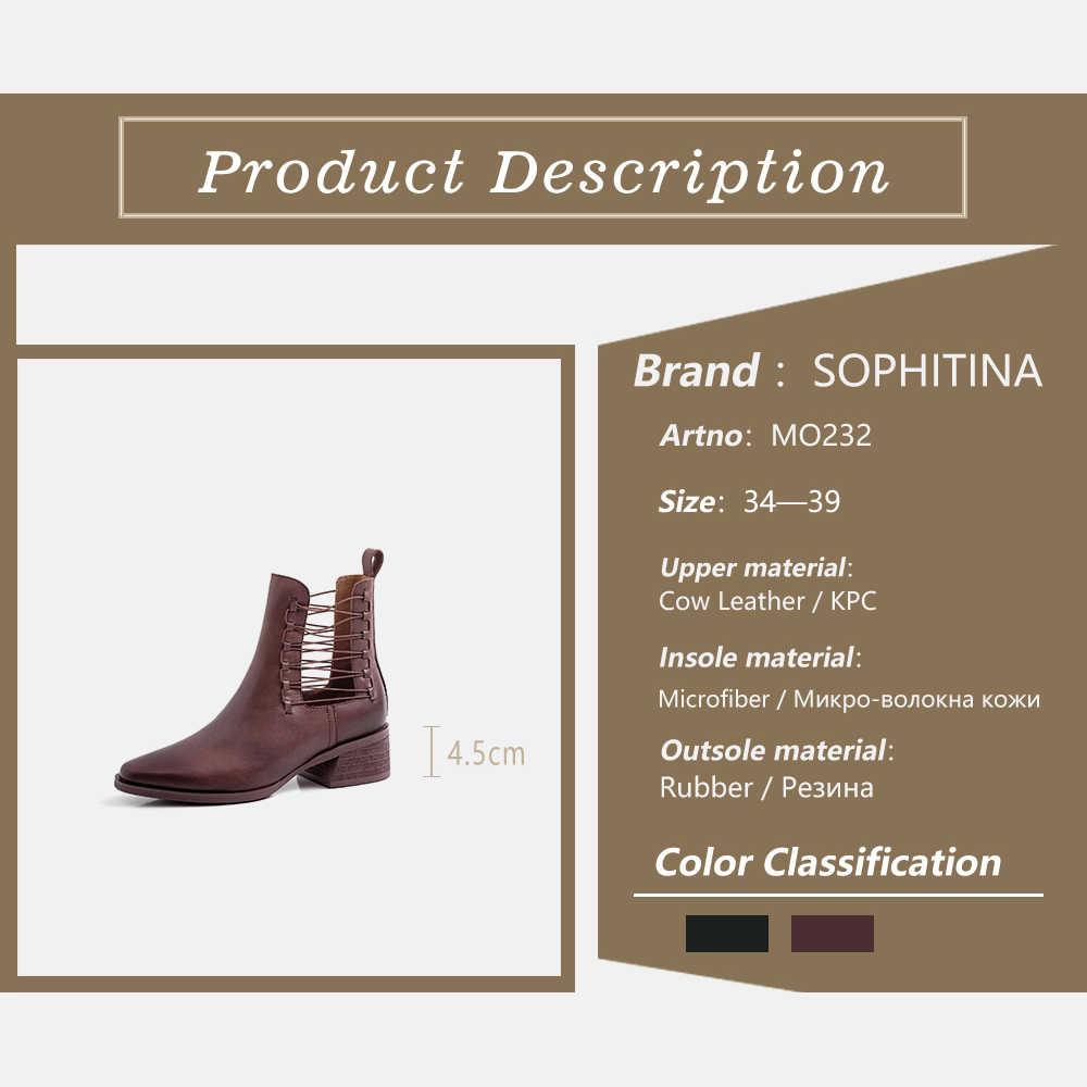 SOPHITINA Yeni Moda Hakiki Deri Sivri Burun Kadın Botları Ilkbahar Sonbahar Dantel-up Ayakkabı Rahat Kare Topuk Bayan Botları MO232