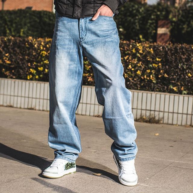 57274408 Plus Size 46 Mens Hip Hop Jeans Skateboard Man Baggy Jeans Denim Wide Leg  Pants Fashion Casual Loose Fit Jeans Rap Streetwear