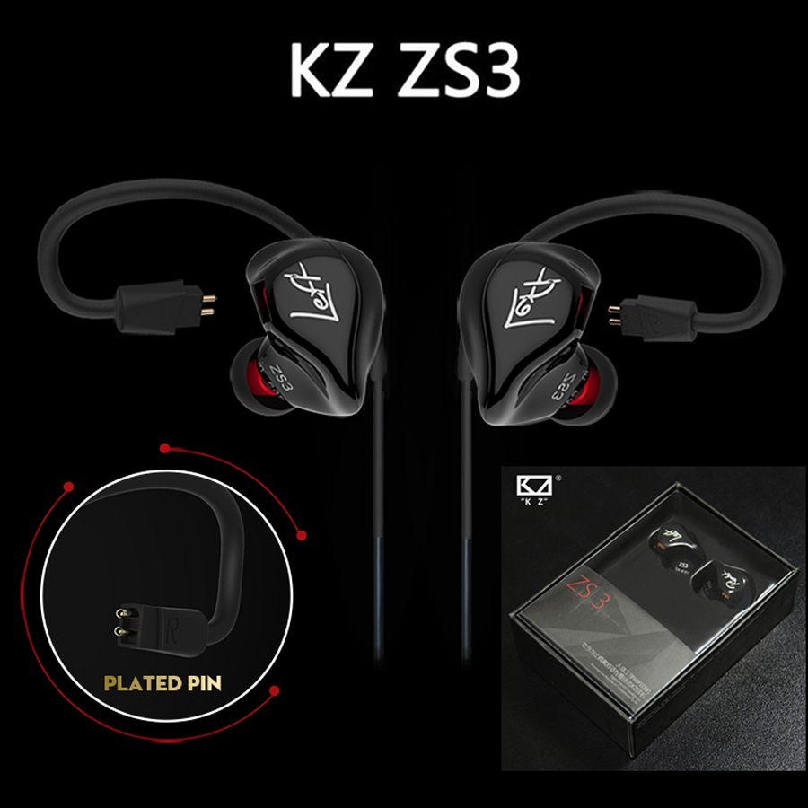 Original KZ ZS3 In Ear Earphone Stereo Running Sport Earphone Noise Cancelling HIFI Monitor Earphone Earbuds Detachable Cable 100% original kz zst hybrid drive powerful bass hifi in ear earphone with mic sport earphones detachable cable noise cancelling