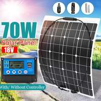 70W 18V Semi Flexible Solar Panel + 10/20/30/40/50A PWM Regulator Controller 70W Flexible Panel Solar Car/Boat Battery Charger