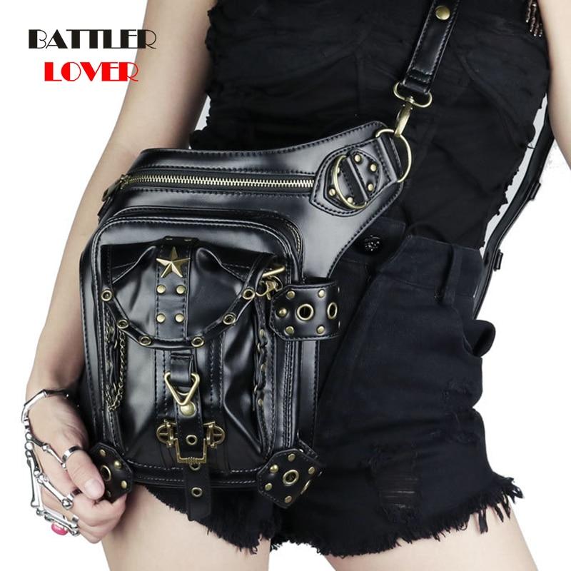 Womens Steampunk Bags Gothic Messenger Handbag Shoulder Bag Vintage Fashion Retro Rock Waist Pack Small Leg Bag Men Punk Hip Hop