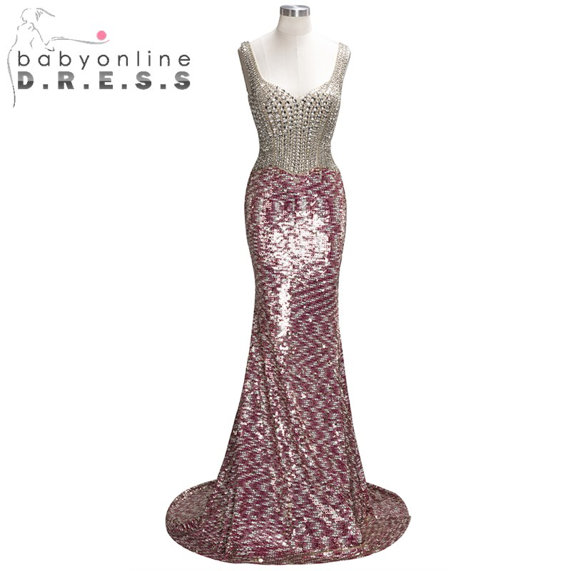 Heavy Beaded Shinny Sequin Reflective Dress Mermaid Prom Dresses 2019 Double V Neck Cap Sleeve Evening Dresses Sexy Party Gown