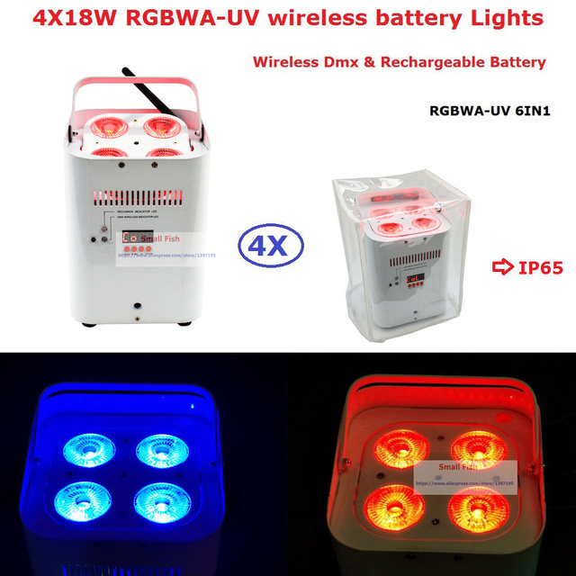 Factory Direct Offer 4 Unit ADJ Design Uplights DMX512 Battery 4*18W RGBWA-UV 6IN1 LED Stage Lights With IR Remote Fast Shipping