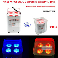 Factory Direct Offer 4 Unit ADJ Design Uplights DMX512 Battery 4*18W RGBWA UV 6IN1 LED Stage Lights With IR Remote Fast Shipping