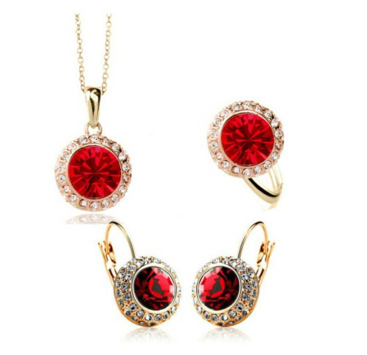 OMH wholesale 18 KT white gold Austrian crystals semicircle Moon river Jewelry sets 9 color choice Necklace + ring TZ165