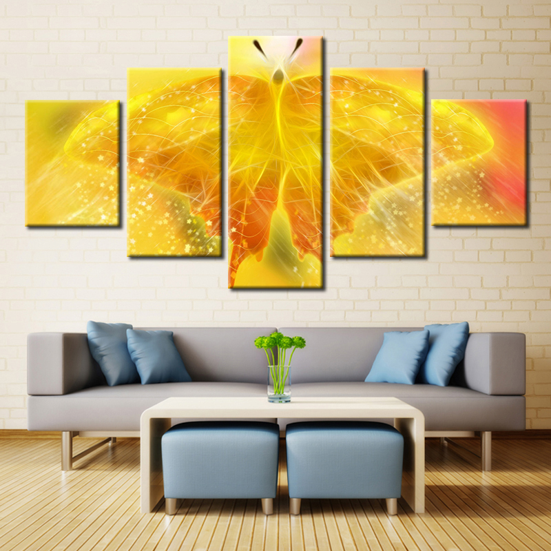 Custom 5 Pieces Unframed Yellow Butterfly Wall Art Large Canvas HD ...