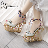 YIFSION New Fashion Women Summer Sandals Open Toe Flower Pearls Lace Up Platform Women Wedding Party Sandals Shoes Woman