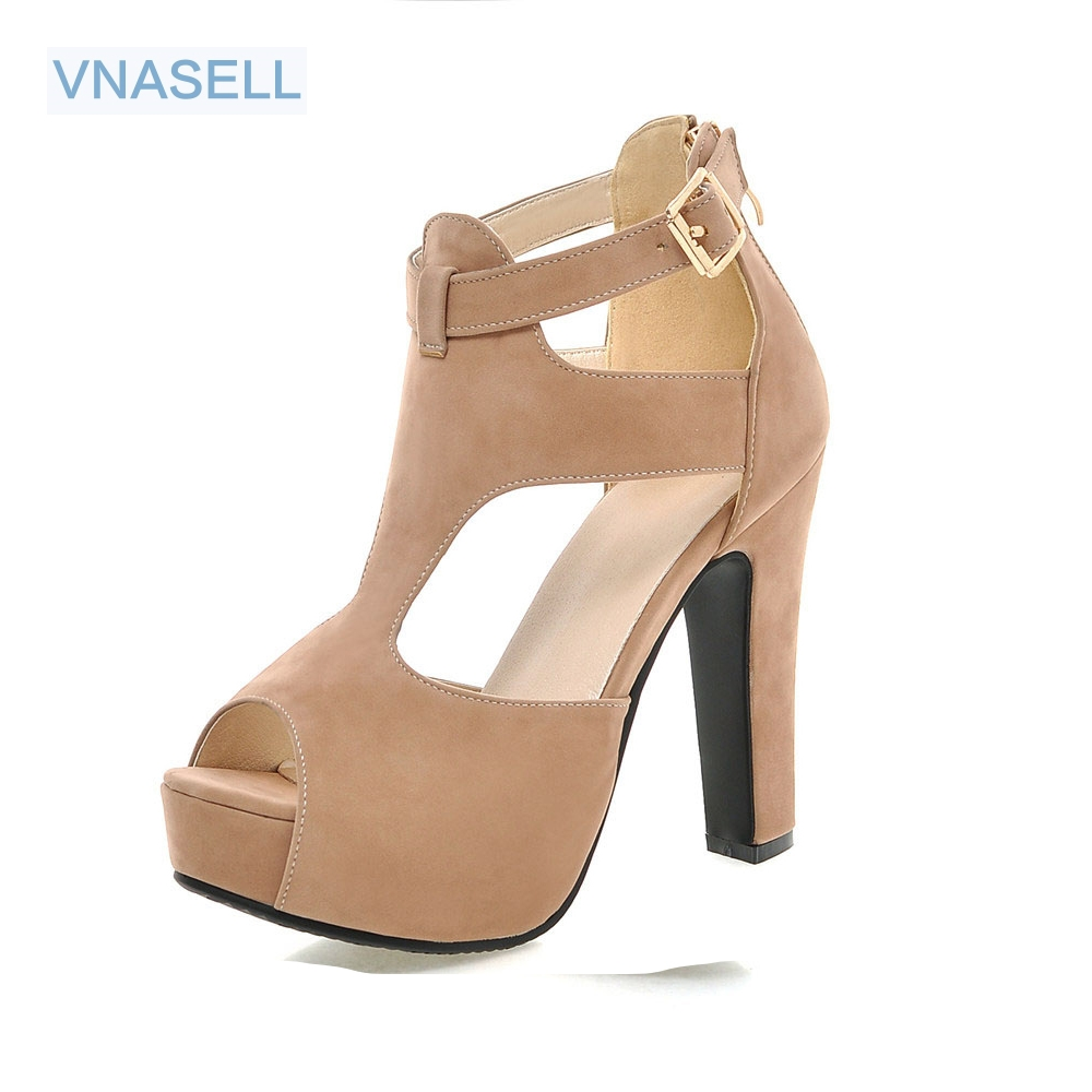 Vnasell size 32-43 summer women shoes sexy Peep Toe platform high heels Buckle decoration suede tall gladiator sandals 3colors 2017 suede gladiator sandals platform wedges summer creepers casual buckle shoes woman sexy fashion beige high heels k13w