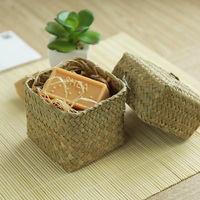 Handmade Straw Gift Box Storage Basket A Cover Jewelry Collection Handmade Soap Box Tea Boxes Multifunctional