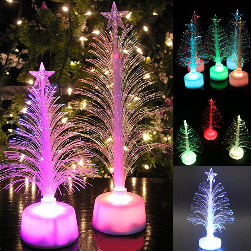 Small Battery Operated Christmas Tree: Colored Fiber Optic LED Light Up Mini Christmas Tree With