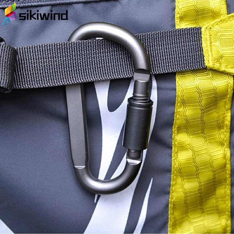 D-Shaped Camping Carabiner Aluminum Alloy Screw Dark Grey Lock Hook Clip Key Ring Outdoor Camping Climbing Tools Accessories Z75