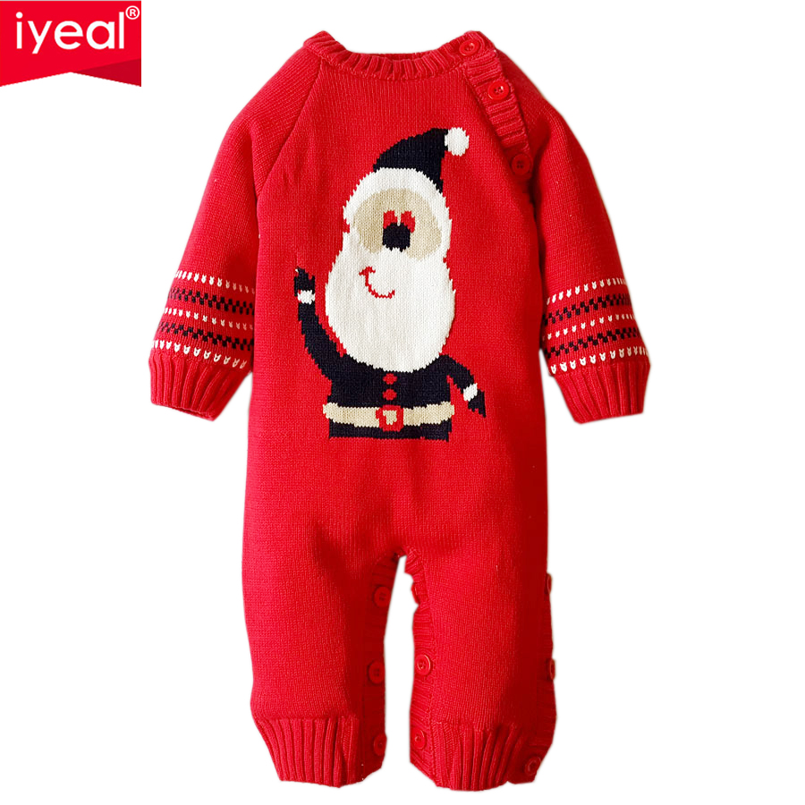 IYEAL Christmas 2018 Baby Boy Winter Rompers Knit Sweater Cotton Infant Baby Girl Clothes Thickening Overalls for the New Year iyeal new spring autumn baby rompers cartoon christmas deer cotton sweater infant girl boy jumpers kids baby outfits clothes