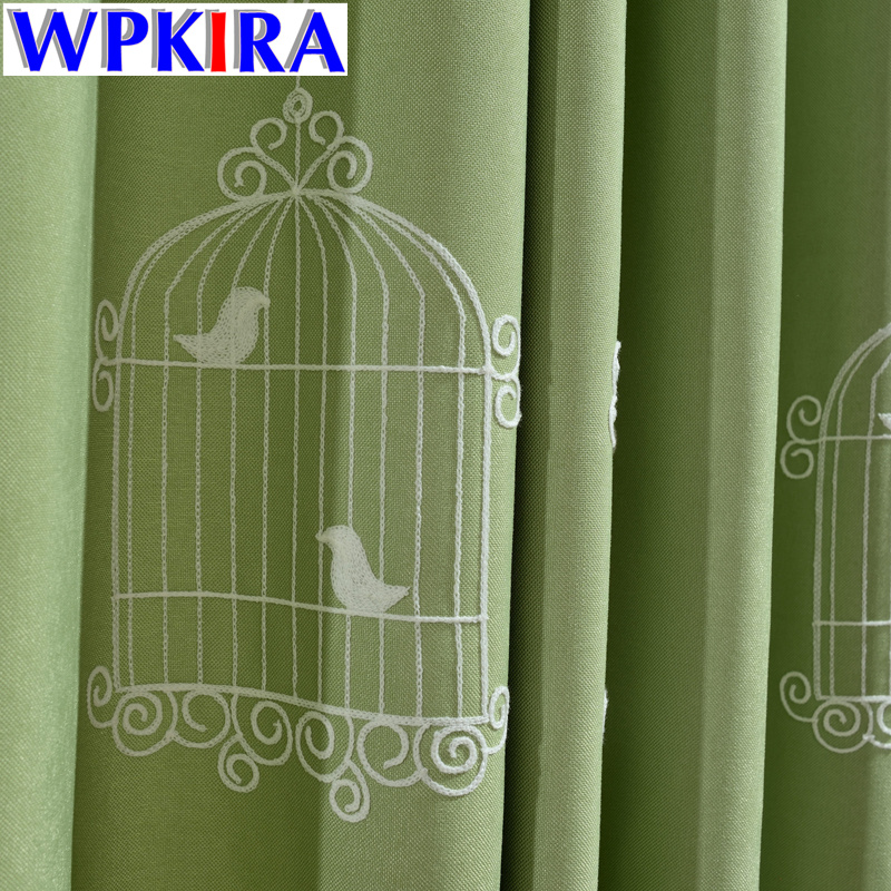 Rustic Flower Birdcage Blackout Curtains For Living Room Green Fabric Curtain Kids Bedroom Cartoon Tulle 30 In From Home Garden On