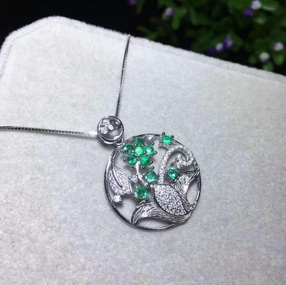 c4bdc2548678 Colgante de Esmeralda verde natural COLLAR COLGANTE de piedras preciosas  naturales Plata de Ley 925 elegante cesta de flores joyería de fiesta para  mujer en ...