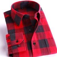 Dos homens 100% Algodão camisa Casual Xadrez Camisas de Manga Longa Bolso Slim Fit Confortável Escovado Flanela Camisa Estilos Lazer Tops Camisa