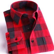 Men s 100 Cotton Casual Plaid Shirts w Pocket Long Sleeve Slim Fit Comfy Soft Brushed