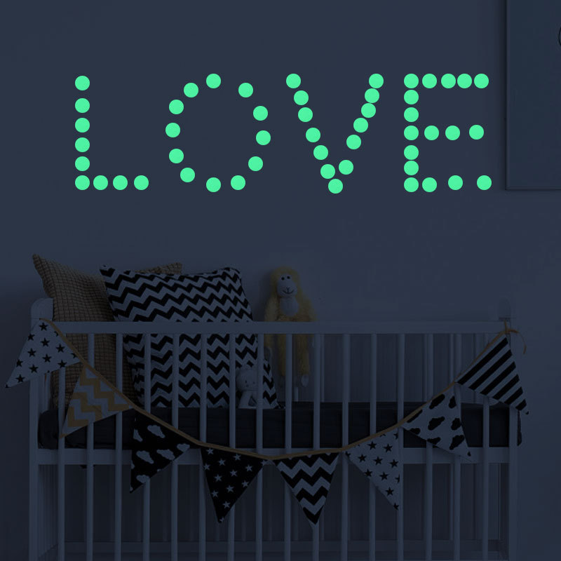 Luminous stickers vinyl Dot and moon bedroom Childrens room decoration wall Can be removed self-adhesive