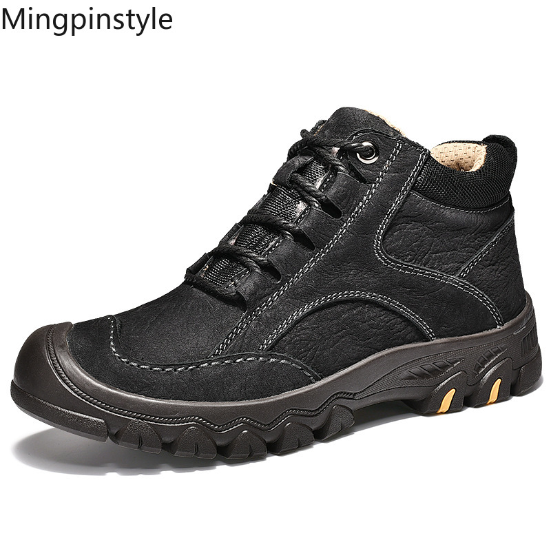 Mingpinstyle 2018 Winter New Men's Boots Snow Boots Sneaker Cow Leather Black Adding Cotton Warm Men Shoes Non-slip 4546 Yards nt00024 5 men s casual warm nubuck cotton sneaker shoes black 44 pair