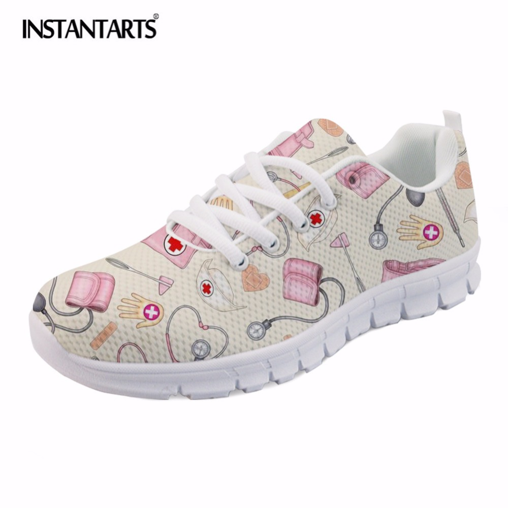 INSTANTARTS New Nursing Design Women Flat Shoes Cartoon Nurse Printed Female Spring Sneakers Light weight Mesh Flats Zapators