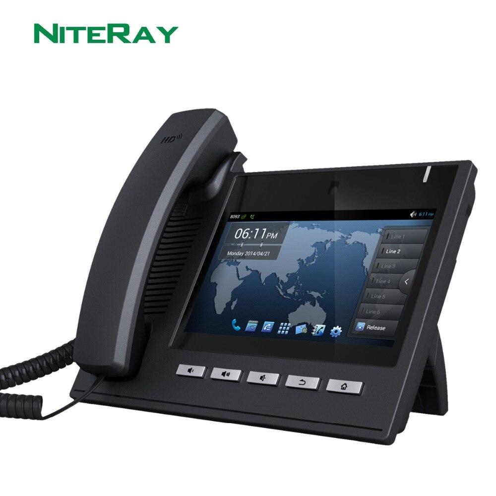ОС Android 4,2, 6 SIP линии, sip/voip видео ip-телефон с 7 TFT 800X480 сенсорный экран Поддержка функции PoE