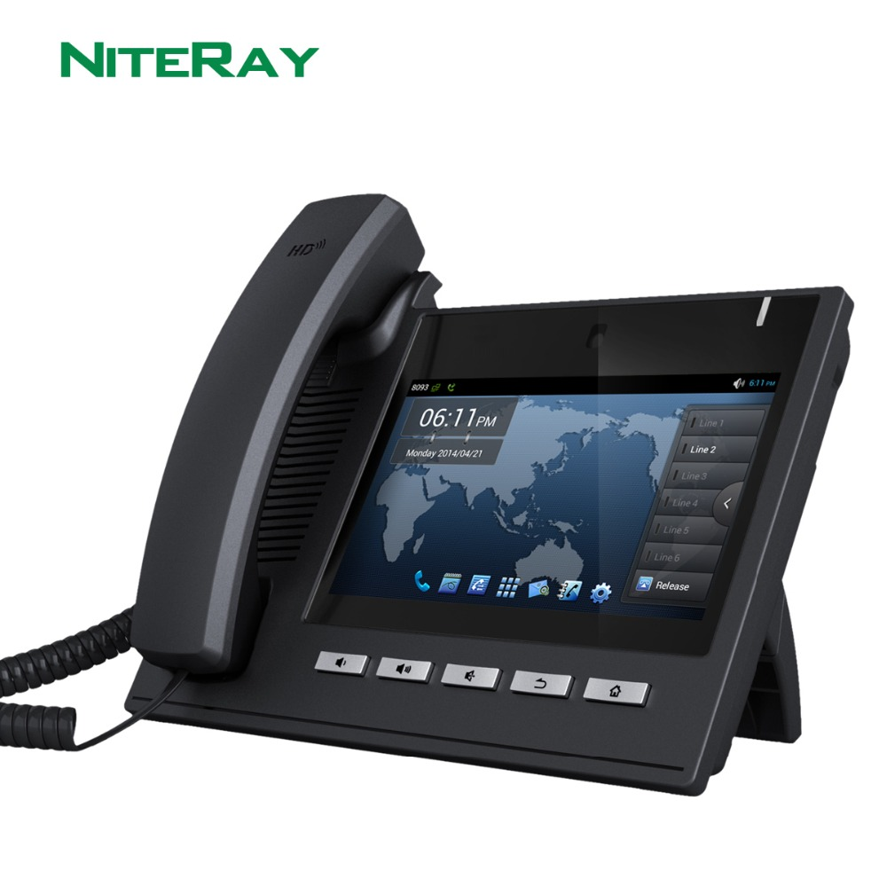 Android 4.2 OS,6 SIP lines,sip/voip video ip phone with 7TFT 800X480 touch screen support PoE function