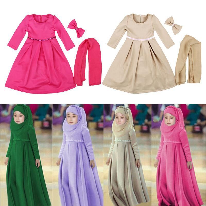 3 Peice Muslim Child Girls Hijab+Bow+Dress Islamic Arab Abaya Kids Ramadan Long Sleeve Middle East Maxi Dresses Kaftan Clothing