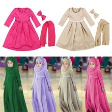 3 Peice müslüman çocuk kız başörtüsü + yay + elbise İslam arap Abaya çocuk ramazan uzun kollu orta doğu Maxi elbiseler Kaftan giyim