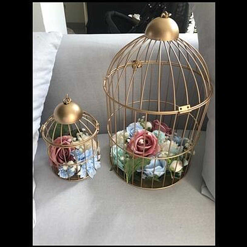 1pcs gold Continental Iron Birdcage decorative window small cage wedding ornaments classical cages bird bed decorative flower