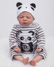 22 inch Realisitc Baby Boy Doll Lifelike Newborn Reborn Pacifier Doll Collections in Panda Baby Clothes