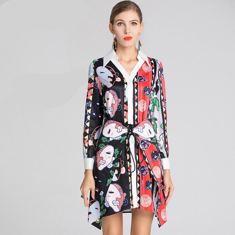 Kadın Giyim'ten Elbiseler'de Kırmızı RoosaRosee Moda Tasarımcı Pist Elbise İlkbahar Yaz Kadın Uzun Kollu dantel up Baskı Asimetrik Mini Elbiseler Vestidos'da  Grup 1