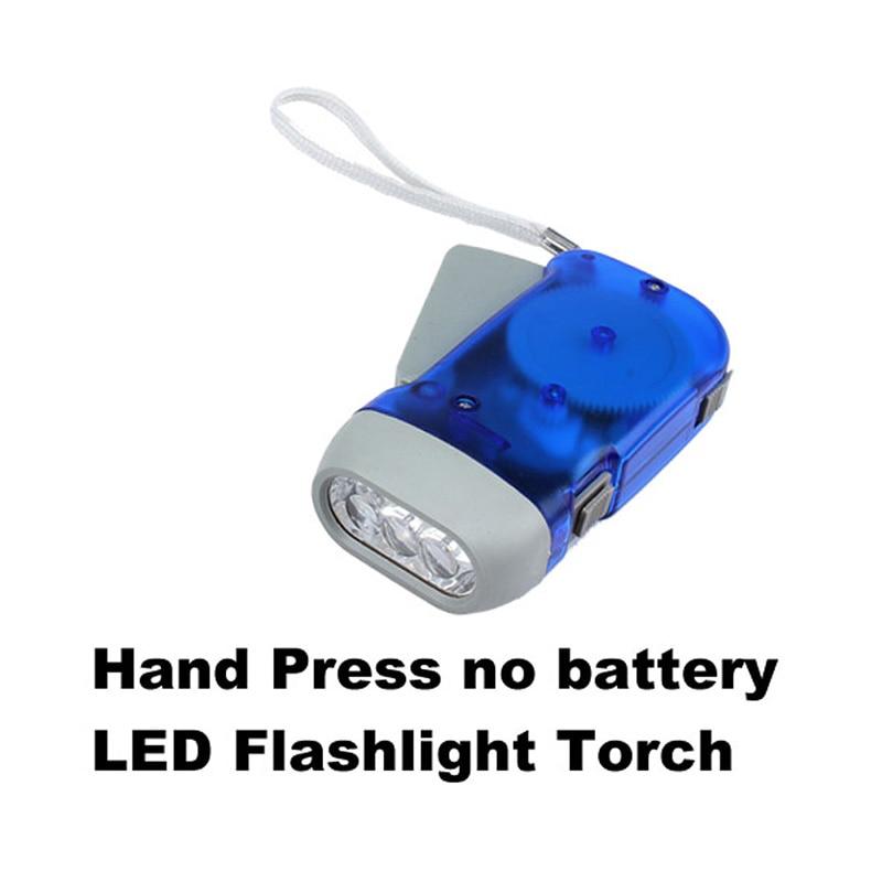 Naujas aukštos kokybės 3 LED rankinis paspaudimas nešiojamas mini stovyklavietės vėjo alkūninis blykstės žibintuvėlis Žibintuvėlis Nėra baterijos rankinio elektros energijos HR