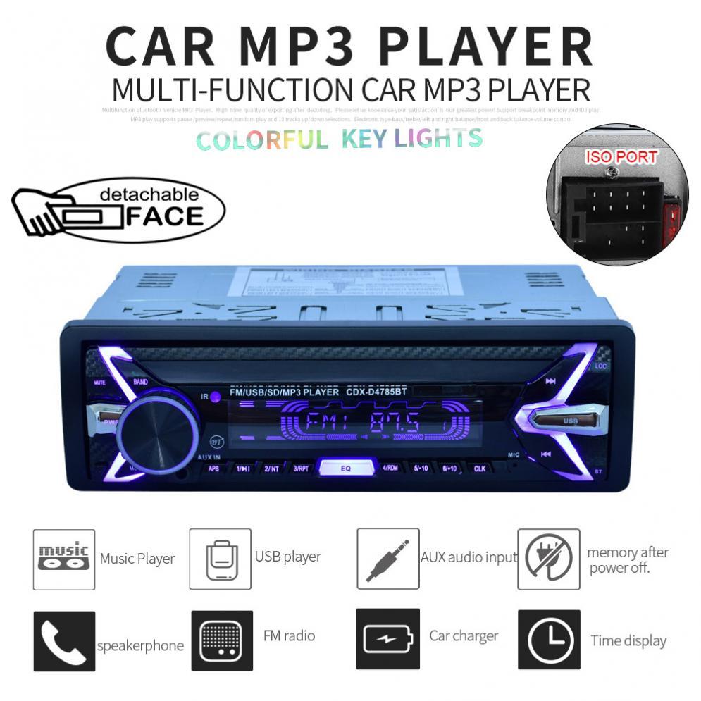 1 Din Bluetooth Car Radio Audio Stereo MP3 Player FACE Detachable SD//FM//AUX//USB