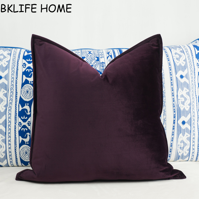 Soft Sauce Purple Velvet Cushion Cover Hemming Envelope Pillowcase Throw Pillow No Balling-up Without Stuffing