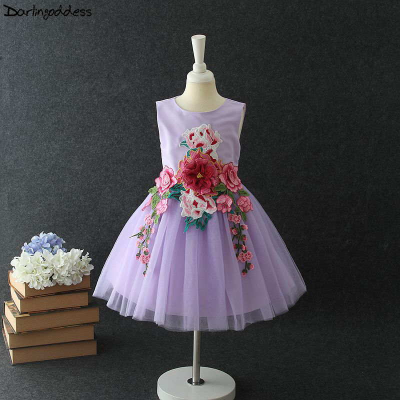 2018 Purple Cheap   Flower     Girl     Dresses   for Weddings Embroidery Ball Gown Baby Pageant Birthday Party   Dress   First Communion   Dress